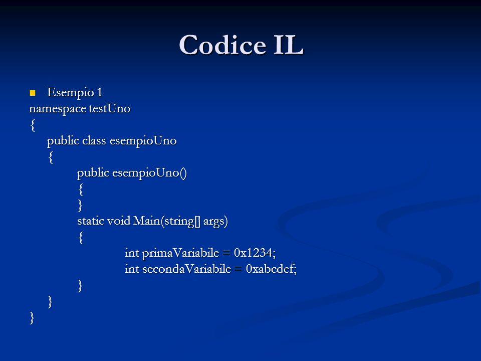Codice IL Esempio 1 Esempio 1 namespace testUno { public class esempioUno { public esempioUno() {} static void Main(string[] args) { int primaVariabile = 0x1234; int secondaVariabile = 0xabcdef; }}}
