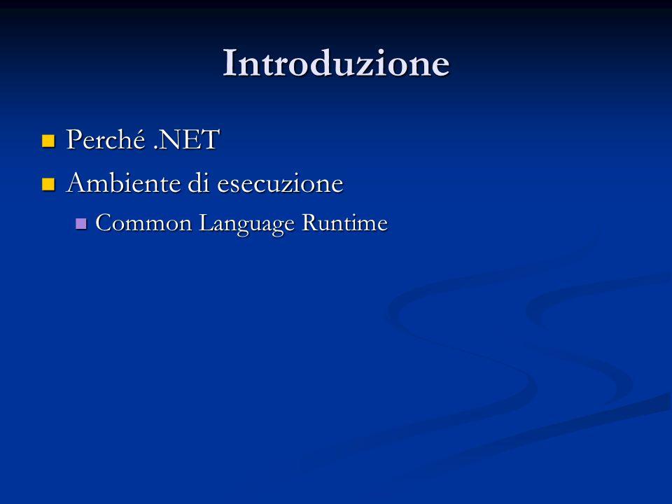 Introduzione Perché.NET Perché.NET Ambiente di esecuzione Ambiente di esecuzione Common Language Runtime Common Language Runtime