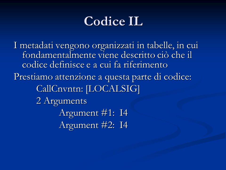 Codice IL I metadati vengono organizzati in tabelle, in cui fondamentalmente viene descritto ciò che il codice definisce e a cui fa riferimento Prestiamo attenzione a questa parte di codice: CallCnvntn: [LOCALSIG] 2 Arguments Argument #1: I4 Argument #2: I4