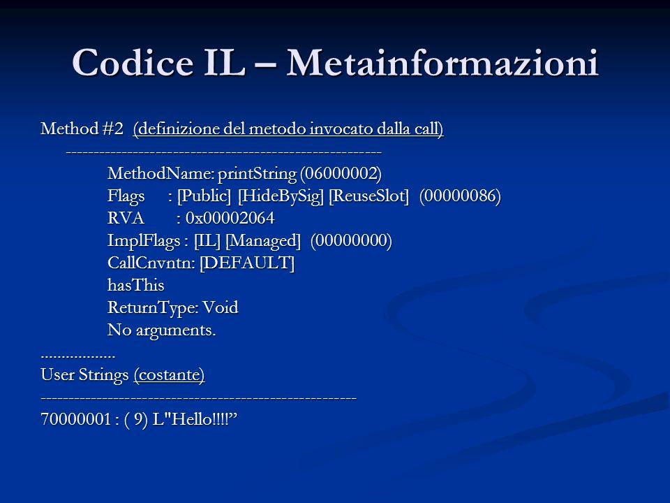 Codice IL – Metainformazioni Method #2 (definizione del metodo invocato dalla call) ------------------------------------------------------- MethodName: printString (06000002) Flags : [Public] [HideBySig] [ReuseSlot] (00000086) RVA : 0x00002064 ImplFlags : [IL] [Managed] (00000000) CallCnvntn: [DEFAULT] hasThis ReturnType: Void No arguments...................