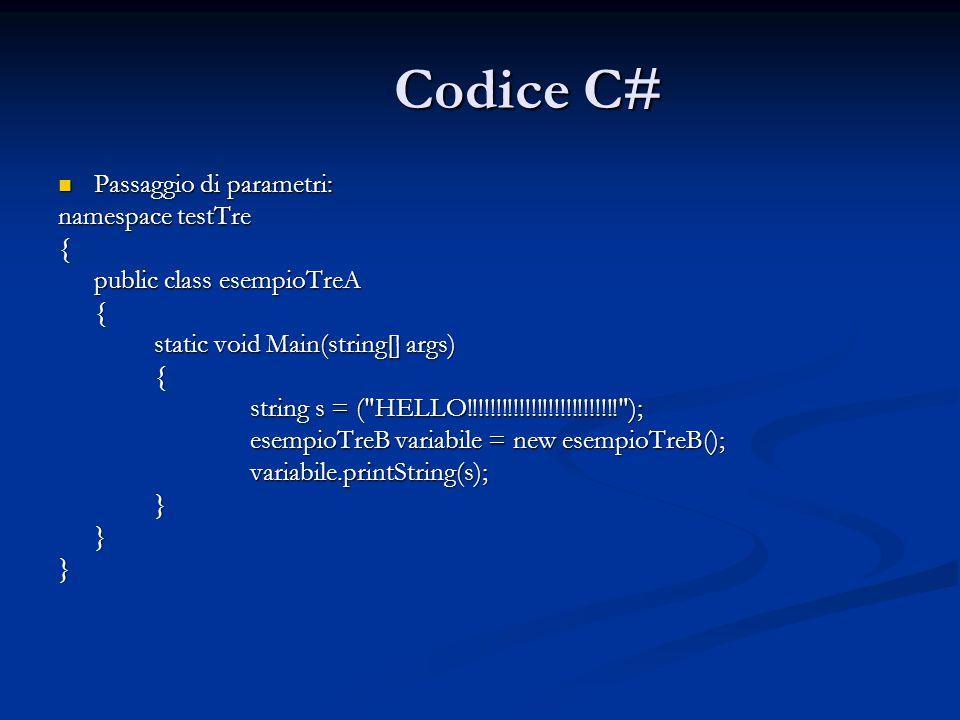 Codice C# Passaggio di parametri: Passaggio di parametri: namespace testTre { public class esempioTreA { static void Main(string[] args) { string s = ( HELLO!!!!!!!!!!!!!!!!!!!!!!!!!! ); esempioTreB variabile = new esempioTreB(); variabile.printString(s);}}}