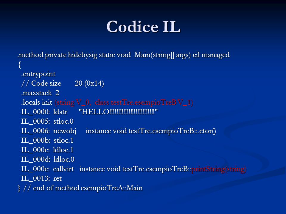 Codice IL.method public hidebysig instance void printString(string s) cil managed { // Code size 7 (0x7) // Code size 7 (0x7).maxstack 1.maxstack 1 IL_0000: ldarg.1 IL_0000: ldarg.1 IL_0001: call void [mscorlib]System.Console::Write(string) IL_0001: call void [mscorlib]System.Console::Write(string) IL_0006: ret IL_0006: ret } // end of method esempioTreB::printString