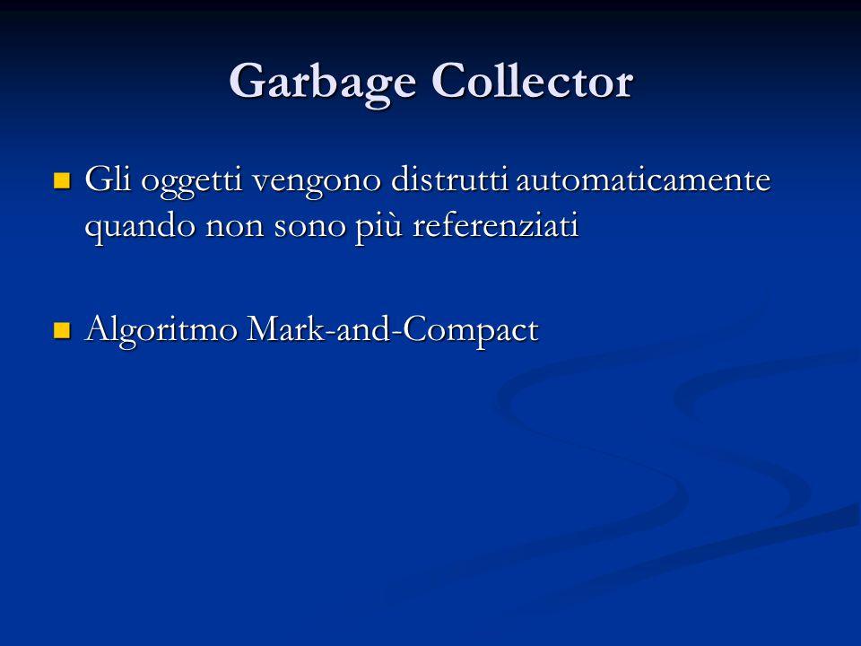 Garbage Collector Gli oggetti vengono distrutti automaticamente quando non sono più referenziati Gli oggetti vengono distrutti automaticamente quando non sono più referenziati Algoritmo Mark-and-Compact Algoritmo Mark-and-Compact