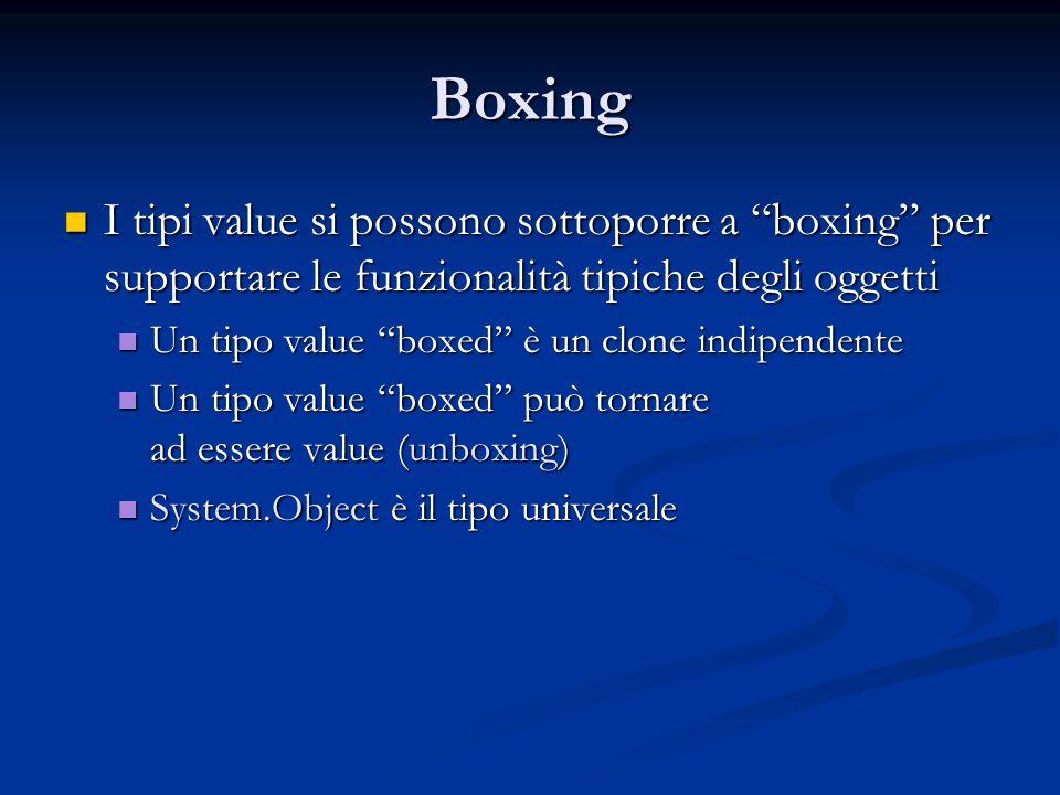 Boxing I tipi value si possono sottoporre a boxing per supportare le funzionalità tipiche degli oggetti I tipi value si possono sottoporre a boxing per supportare le funzionalità tipiche degli oggetti Un tipo value boxed è un clone indipendente Un tipo value boxed è un clone indipendente Un tipo value boxed può tornare ad essere value (unboxing) Un tipo value boxed può tornare ad essere value (unboxing) System.Object è il tipo universale System.Object è il tipo universale