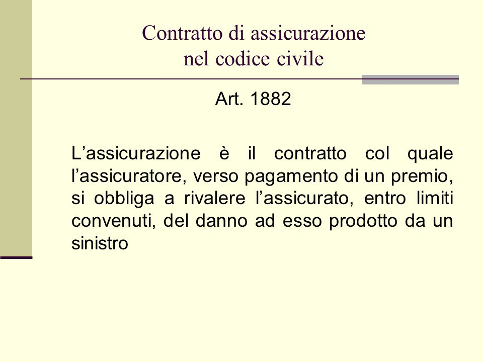 Contratto di assicurazione nel codice civile Art.