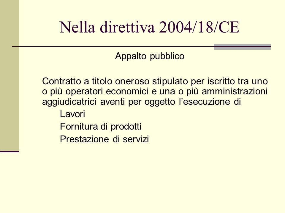 Nella direttiva 2004/18/CE Appalto pubblico Contratto a titolo oneroso stipulato per iscritto tra uno o più operatori economici e una o più amministrazioni aggiudicatrici aventi per oggetto l'esecuzione di Lavori Fornitura di prodotti Prestazione di servizi