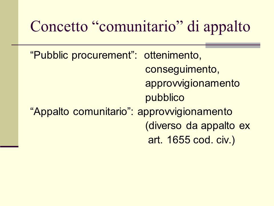 Concetto comunitario di appalto Pubblic procurement : ottenimento, conseguimento, approvvigionamento pubblico Appalto comunitario : approvvigionamento (diverso da appalto ex art.