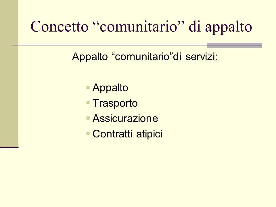Concetto comunitario di appalto Appalto comunitario di servizi:  Appalto  Trasporto  Assicurazione  Contratti atipici