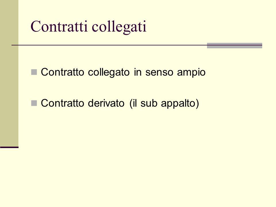 Contratti collegati Contratto collegato in senso ampio Contratto derivato (il sub appalto)
