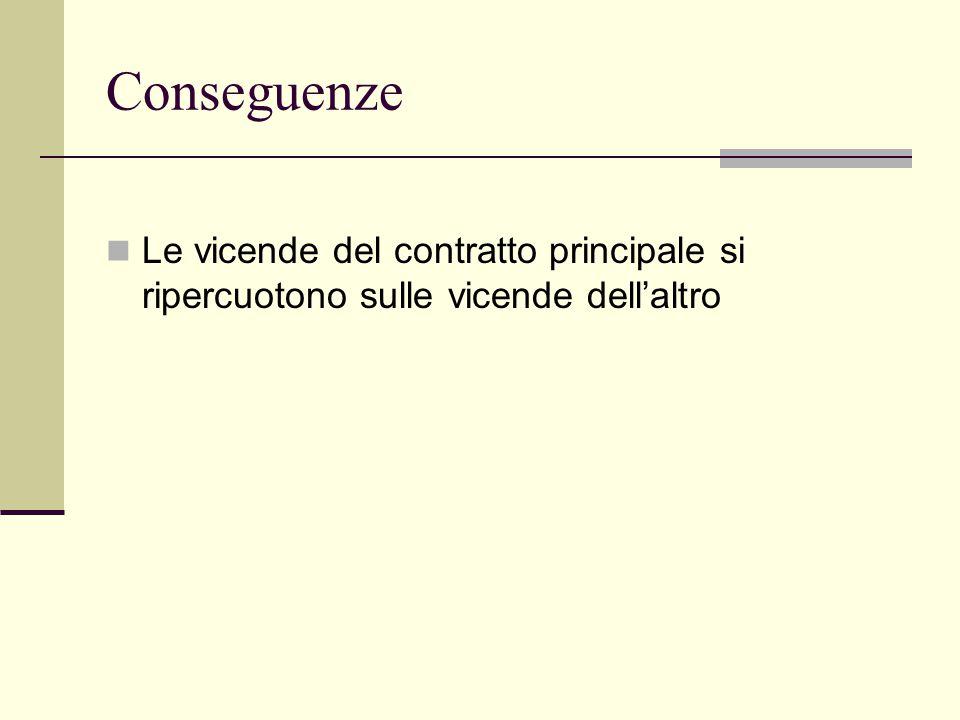 Conseguenze Le vicende del contratto principale si ripercuotono sulle vicende dell'altro