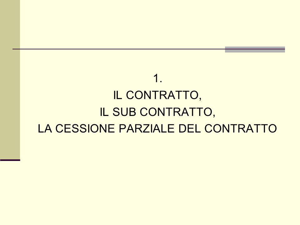 1. IL CONTRATTO, IL SUB CONTRATTO, LA CESSIONE PARZIALE DEL CONTRATTO