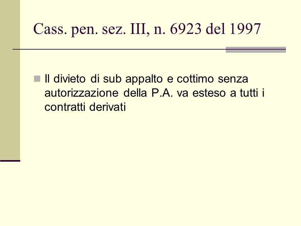 Cass. pen. sez. III, n. 6923 del 1997 Il divieto di sub appalto e cottimo senza autorizzazione della P.A. va esteso a tutti i contratti derivati