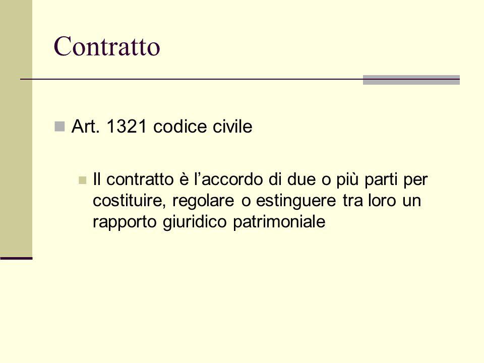 Contratto Art. 1321 codice civile Il contratto è l'accordo di due o più parti per costituire, regolare o estinguere tra loro un rapporto giuridico pat