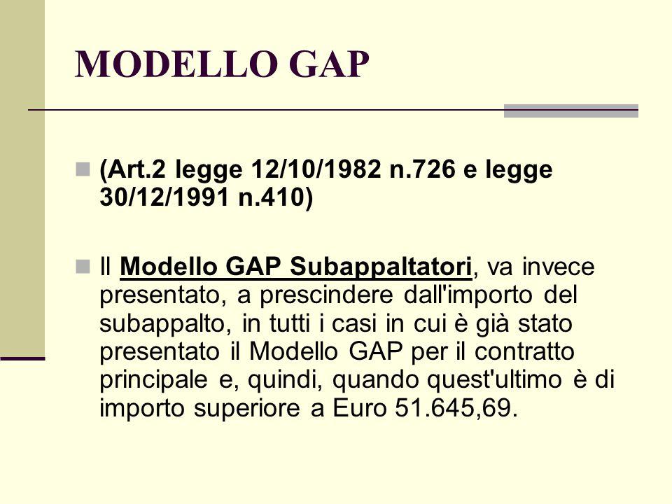 MODELLO GAP (Art.2 legge 12/10/1982 n.726 e legge 30/12/1991 n.410) Il Modello GAP Subappaltatori, va invece presentato, a prescindere dall importo del subappalto, in tutti i casi in cui è già stato presentato il Modello GAP per il contratto principale e, quindi, quando quest ultimo è di importo superiore a Euro 51.645,69.