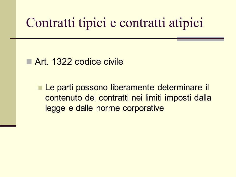Contratti tipici e contratti atipici Art. 1322 codice civile Le parti possono liberamente determinare il contenuto dei contratti nei limiti imposti da