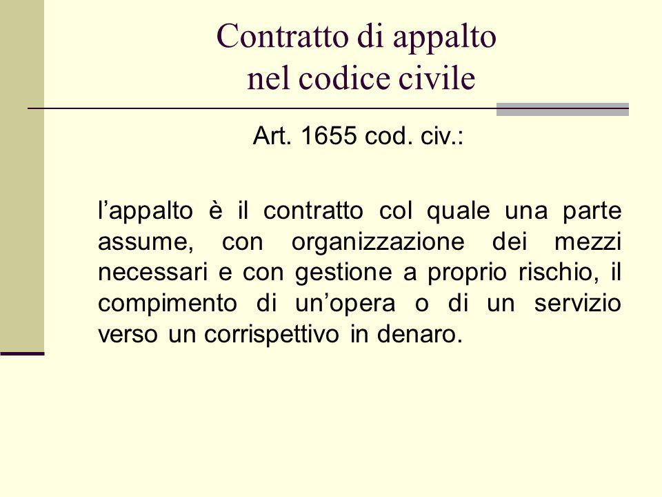 Art. 1655 cod. civ.: l'appalto è il contratto col quale una parte assume, con organizzazione dei mezzi necessari e con gestione a proprio rischio, il