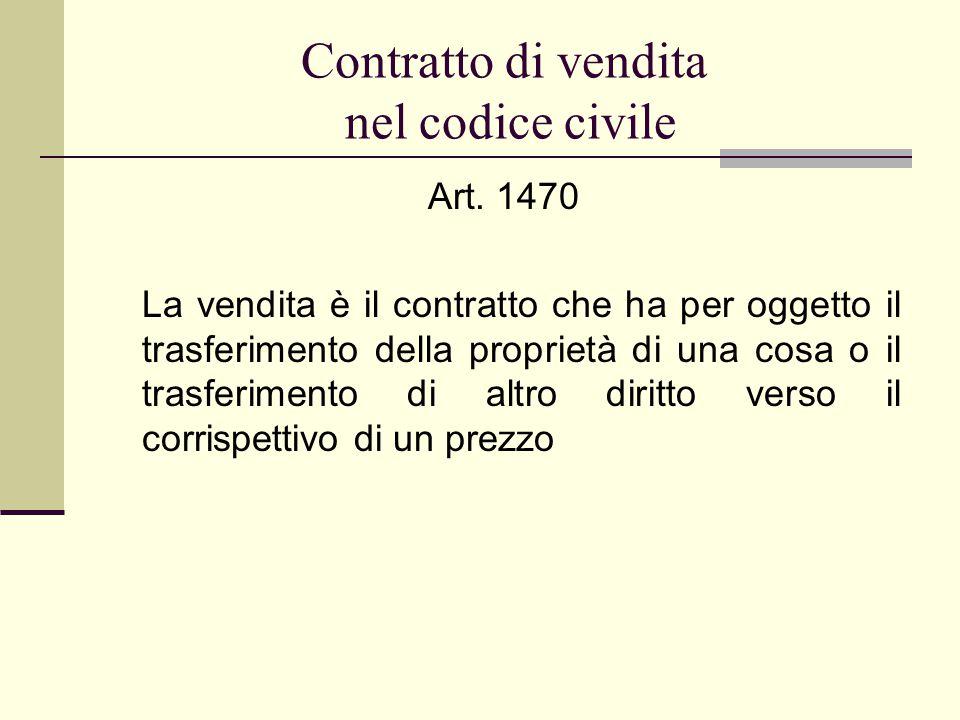 Contratto di vendita nel codice civile Art. 1470 La vendita è il contratto che ha per oggetto il trasferimento della proprietà di una cosa o il trasfe