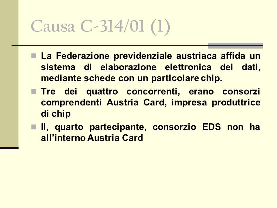 Causa C-314/01 (1) La Federazione previdenziale austriaca affida un sistema di elaborazione elettronica dei dati, mediante schede con un particolare chip.
