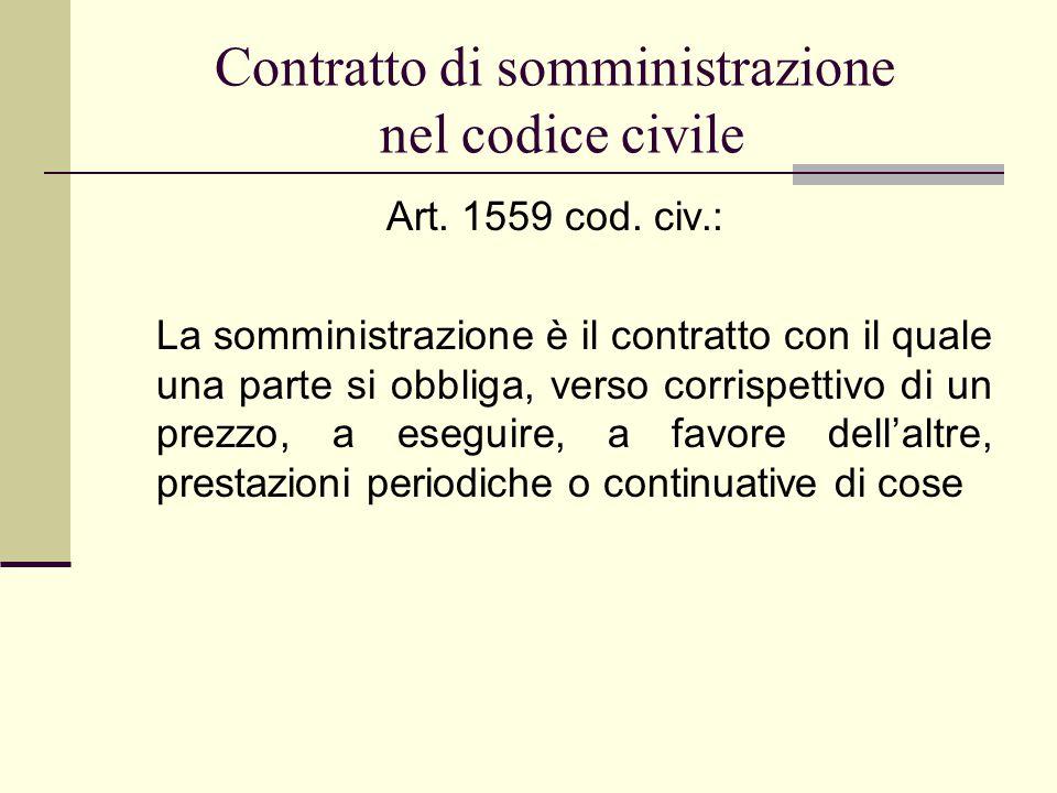 Contratto di somministrazione nel codice civile Art. 1559 cod. civ.: La somministrazione è il contratto con il quale una parte si obbliga, verso corri