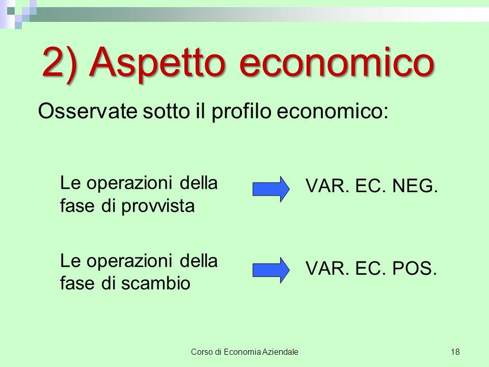 Corso di Economia Aziendale19 Valori economici  Costi  Ricavi  costo significa valore monetario attribuito ad un bene acquistato  ricavo significa valore monetario attribuito ad un bene ceduto