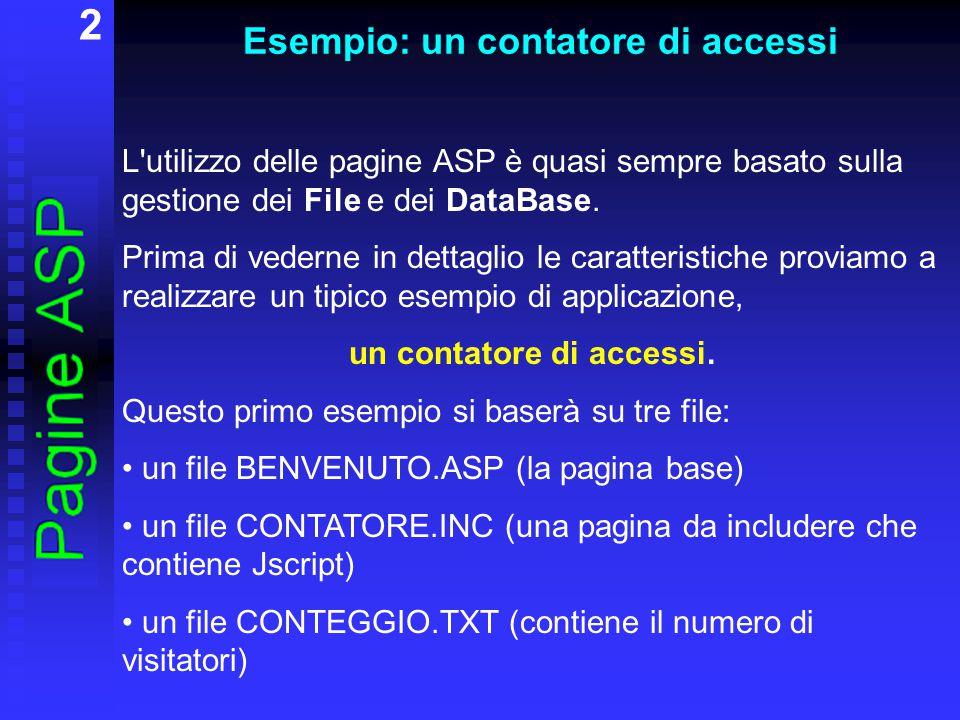 3 Esempio: un contatore di accessi Il file benvenuto.asp è la pagina che verrà richiamata dal client: Benvenuto.
