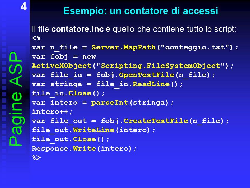 5 Esempio: un contatore di accessi Commenti: il metodo MapPath dell oggetto Server fornisce una stringa con il nome (completo di path) del file ActiveXObject( Scripting.FileSystemObject ) crea un oggetto ActiveX per la gestione dei file con OpenTextFile si apre il file con ReadLine() si legge una riga del file con Close() viene chiuso il file file_in con CreateTextFile si crea un nuovo file (stesso nome) con WriteLine si scrive una riga nel file Il file conteggio.txt deve contenere inizialmente il valore 0 e verrà automaticamente aggiornato.