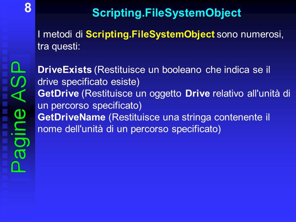 9 Scripting.FileSystemObject CopyFolder (Copia una cartella da una posizione ad un altra) CreateFolder (Genera una nuova cartella) DeleteFolder (Cancella una cartella) MoveFolder (Sposta una cartella) GetFolder (Restituisce un oggetto Folder relativo al percorso specificato) FolderExists (Restituisce un booleano che indica se la cartella specificata esiste)
