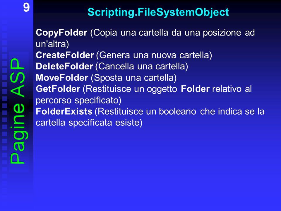 10 Scripting.FileSystemObject CopyFile (Copia uno o più file da una posizione ad un altra) DeleteFile (Cancella un file) FileExists (Restituisce un booleano che indica se il file specificato esiste) MoveFile (Sposta uno o più file) CreateTextFile (Crea un file di testo e restituisce un oggetto TextStream utile per lavorare con il file creato) GetFile (Restituisce un oggetto File relativo al percorso specificato) OpenTextFile (Apre il file specificato e restituisce un oggetto TextStream che può essere utilizzato per leggere il file, scrivere nel file o aggiungere testo alla fine del file)