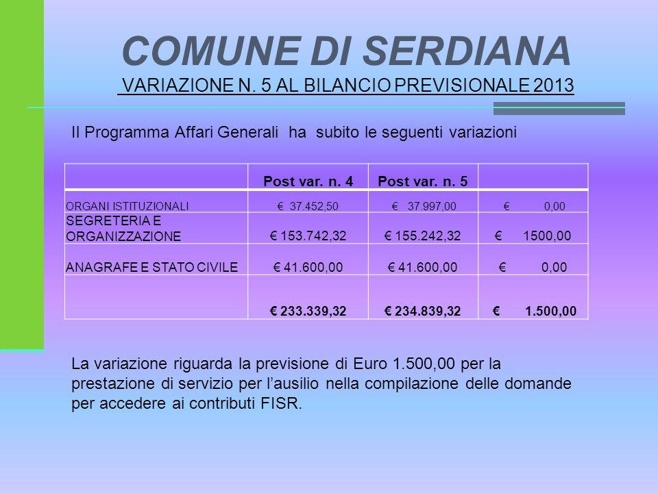 COMUNE DI SERDIANA VARIAZIONE N. 5 AL BILANCIO PREVISIONALE 2013 Il Programma Affari Generali ha subito le seguenti variazioni Post var. n. 4Post var.