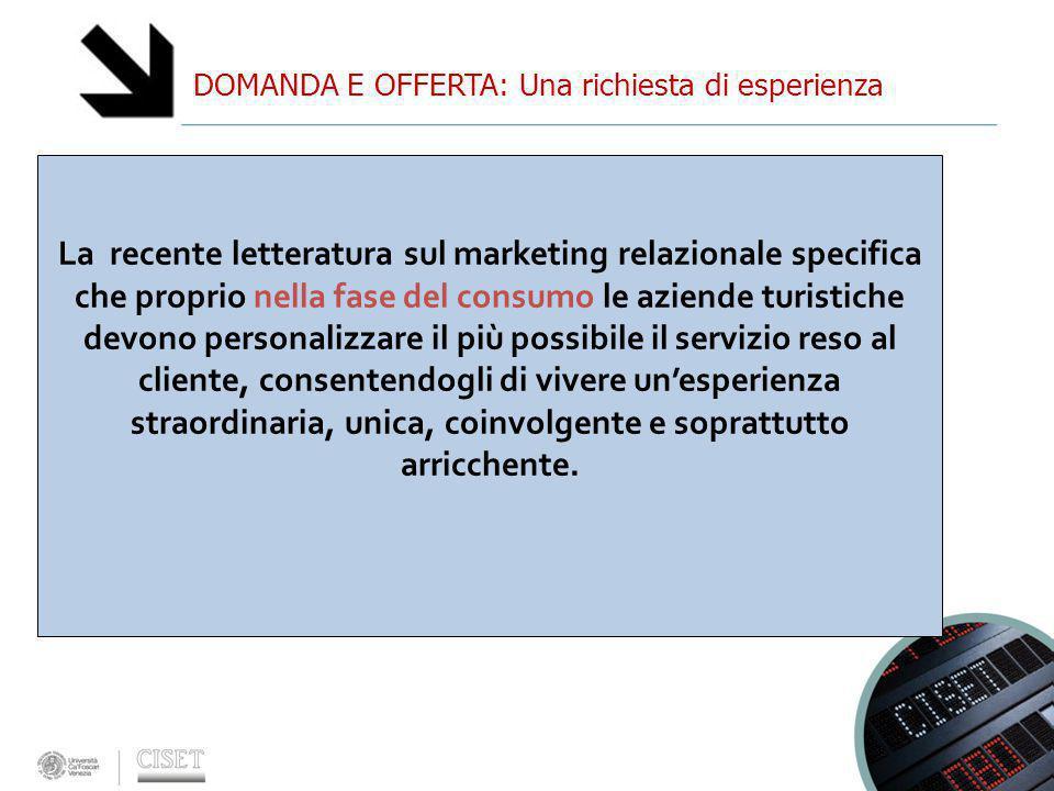DOMANDA E OFFERTA: Una richiesta di esperienza La recente letteratura sul marketing relazionale specifica che proprio nella fase del consumo le aziend