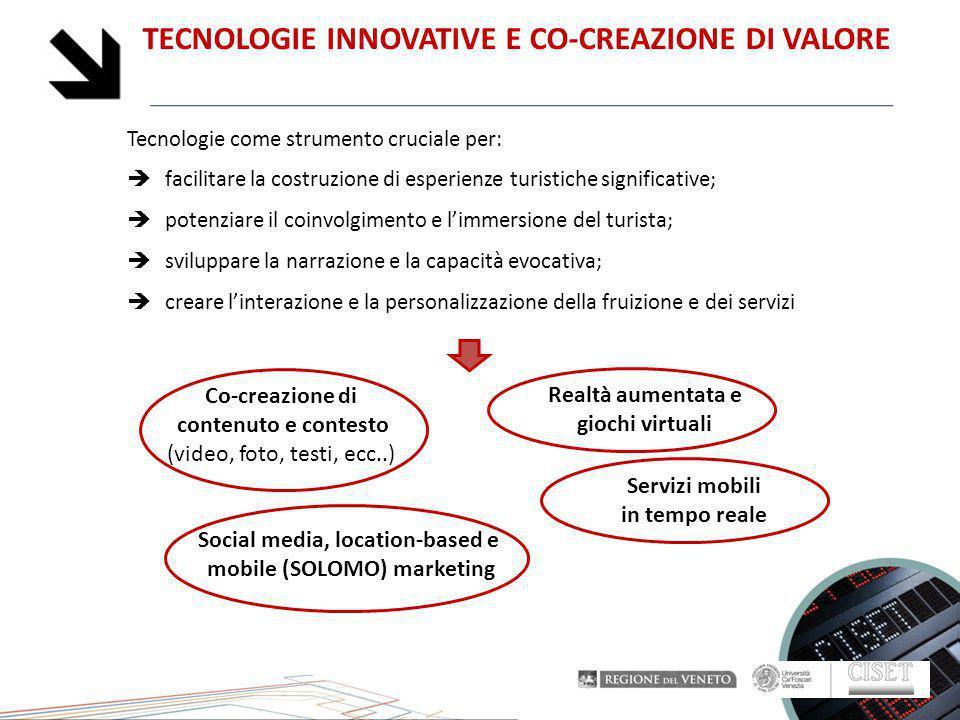 TECNOLOGIE INNOVATIVE E CO-CREAZIONE DI VALORE Tecnologie come strumento cruciale per:  facilitare la costruzione di esperienze turistiche significat