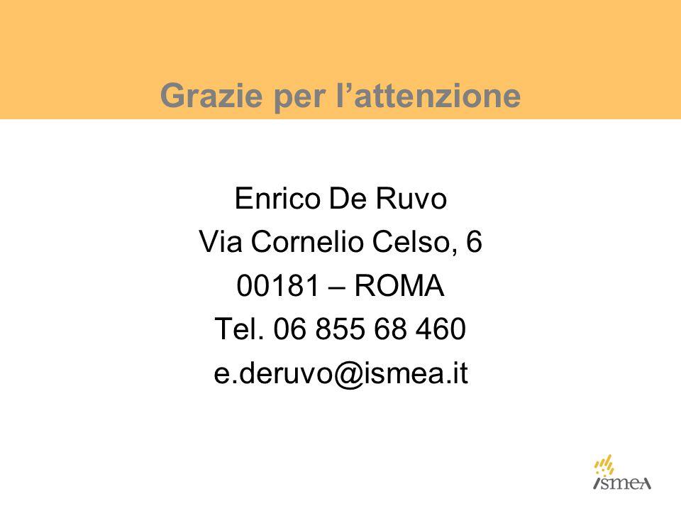 Grazie per l'attenzione Enrico De Ruvo Via Cornelio Celso, 6 00181 – ROMA Tel.