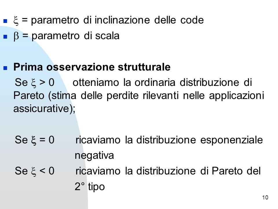 10  = parametro di inclinazione delle code  = parametro di scala Prima osservazione strutturale Se  > 0 otteniamo la ordinaria distribuzione di Pareto (stima delle perdite rilevanti nelle applicazioni assicurative); Se  = 0 ricaviamo la distribuzione esponenziale negativa Se  < 0 ricaviamo la distribuzione di Pareto del 2° tipo