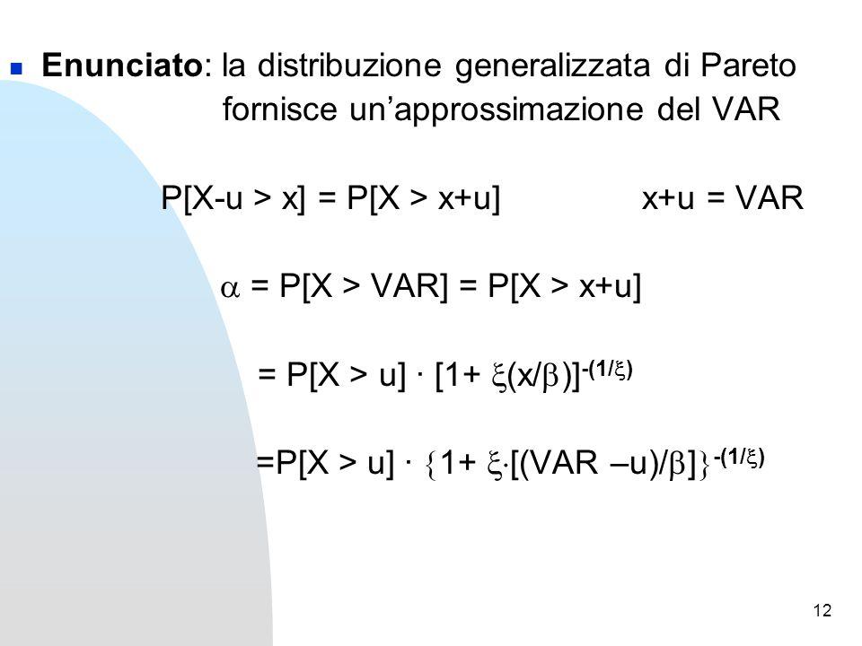 12 Enunciato: la distribuzione generalizzata di Pareto fornisce un'approssimazione del VAR P[X-u > x] = P[X > x+u] x+u = VAR  = P[X > VAR] = P[X > x+u] = P[X > u] · [1+  (x/  )] -(1/  ) =P[X > u] ·  1+  [(VAR –u)/  ]  -(1/  )