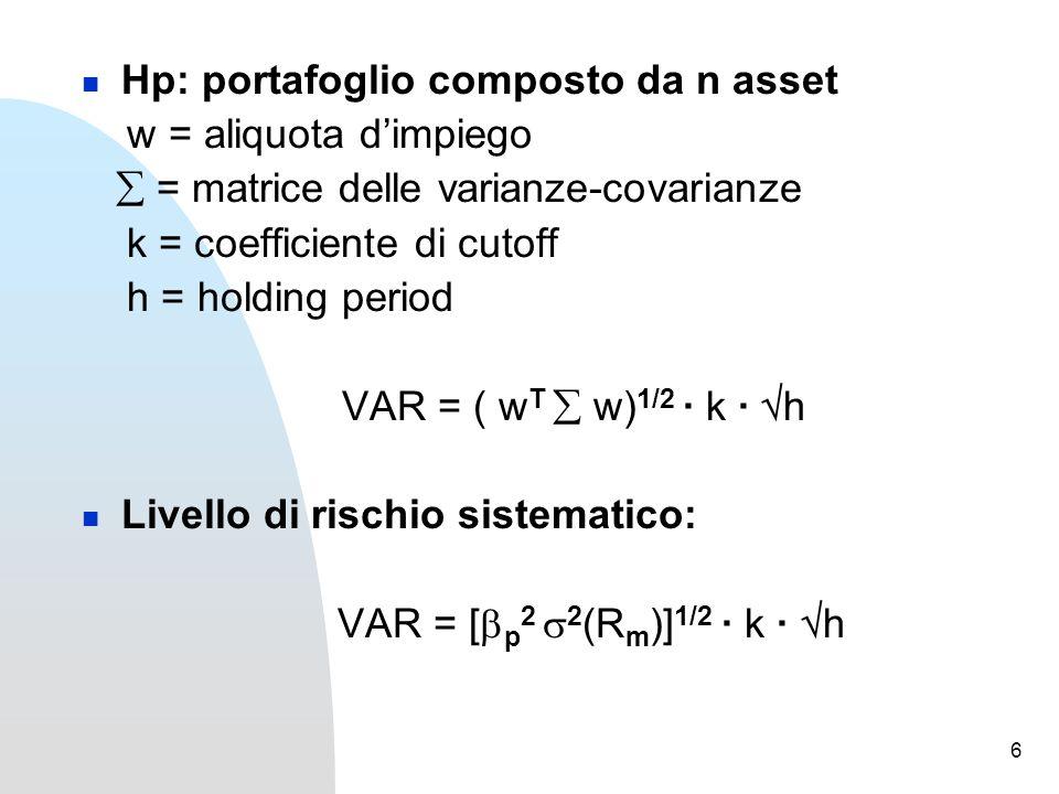 6 Hp: portafoglio composto da n asset w = aliquota d'impiego  = matrice delle varianze-covarianze k = coefficiente di cutoff h = holding period VAR = ( w T  w) 1/2 · k ·  h Livello di rischio sistematico: VAR = [  p 2  2 (R m )] 1/2 · k ·  h
