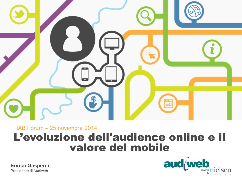 IAB Forum – 25 novembre 2014 L'evoluzione dell'audience online e il valore del mobile Enrico Gasperini Presidente di Audiweb