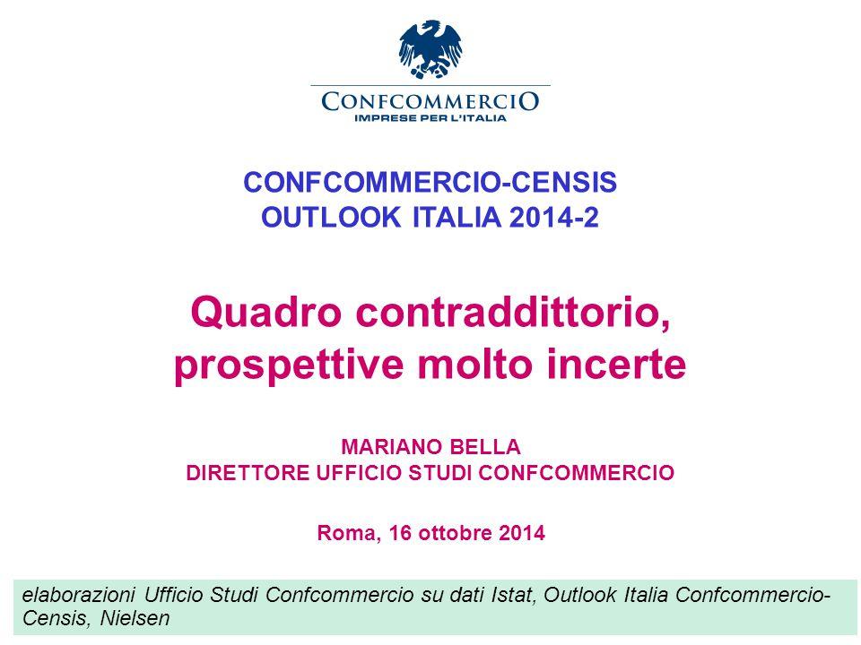 Ufficio Studi CONFCOMMERCIO-CENSIS OUTLOOK ITALIA 2014-2 Quadro contraddittorio, prospettive molto incerte MARIANO BELLA DIRETTORE UFFICIO STUDI CONFCOMMERCIO Roma, 16 ottobre 2014 elaborazioni Ufficio Studi Confcommercio su dati Istat, Outlook Italia Confcommercio- Censis, Nielsen