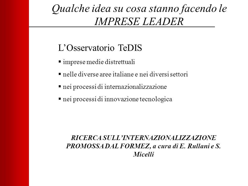 Qualche idea su cosa stanno facendo le IMPRESE LEADER L'Osservatorio TeDIS  imprese medie distrettuali  nelle diverse aree italiane e nei diversi settori  nei processi di internazionalizzazione  nei processi di innovazione tecnologica RICERCA SULL'INTERNAZIONALIZZAZIONE PROMOSSA DAL FORMEZ, a cura di E.