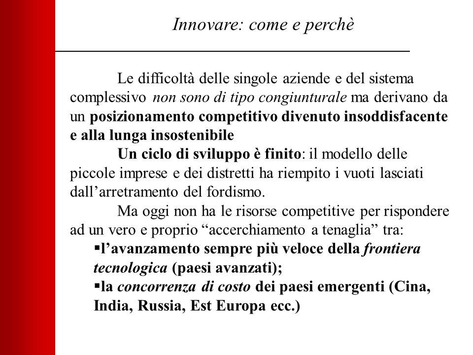 Innovare: come e perchè Le difficoltà delle singole aziende e del sistema complessivo non sono di tipo congiunturale ma derivano da un posizionamento