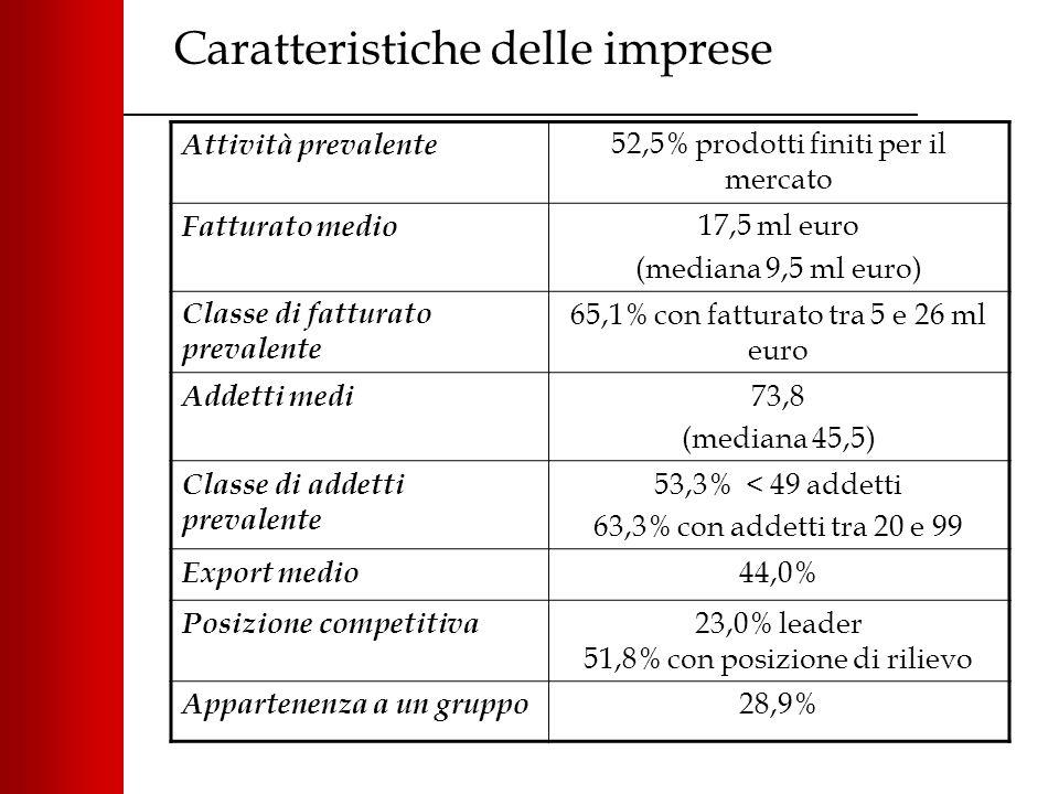 Caratteristiche delle imprese Attività prevalente 52,5% prodotti finiti per il mercato Fatturato medio 17,5 ml euro (mediana 9,5 ml euro) Classe di fatturato prevalente 65,1% con fatturato tra 5 e 26 ml euro Addetti medi 73,8 (mediana 45,5) Classe di addetti prevalente 53,3% < 49 addetti 63,3% con addetti tra 20 e 99 Export medio 44,0% Posizione competitiva 23,0% leader 51,8% con posizione di rilievo Appartenenza a un gruppo 28,9%