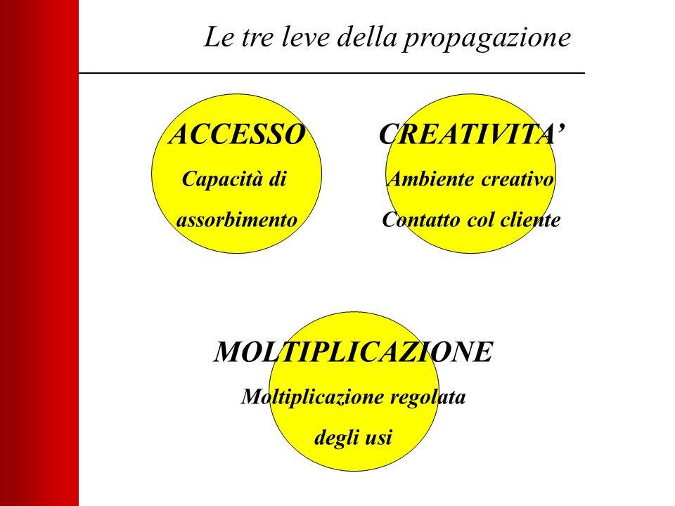 Le tre leve della propagazione ACCESSO Capacità di assorbimento MOLTIPLICAZIONE Moltiplicazione regolata degli usi CREATIVITA' Ambiente creativo Contatto col cliente