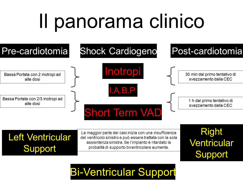 Il panorama clinico Shock CardiogenoPre-cardiotomiaPost-cardiotomia Inotropi I.A.B.P. Short Term VAD Left Ventricular Support Right Ventricular Suppor