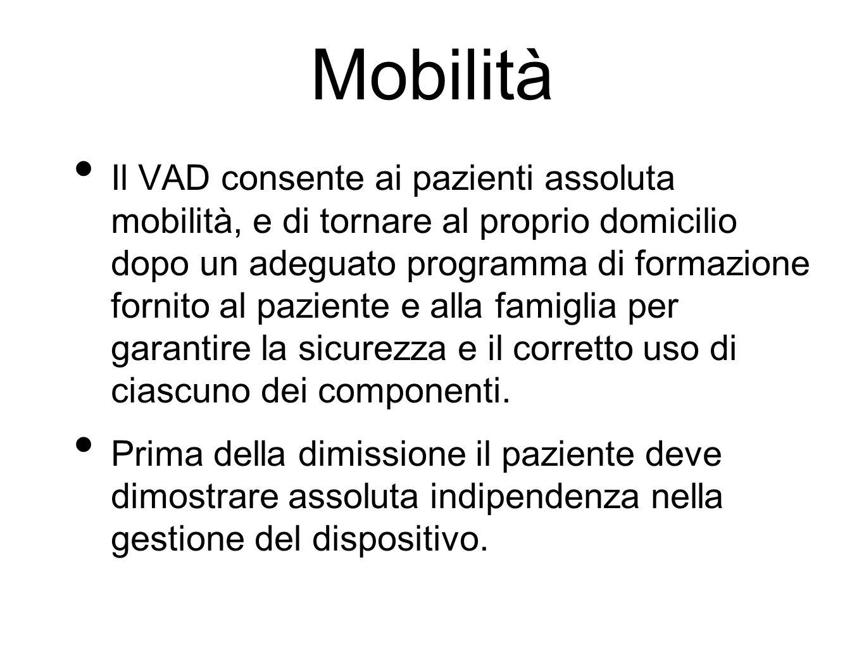 Mobilità Il VAD consente ai pazienti assoluta mobilità, e di tornare al proprio domicilio dopo un adeguato programma di formazione fornito al paziente