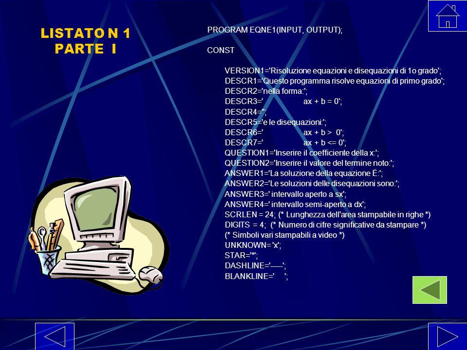 L'ultima serie di istruzioni visualizza i risultati dell'equazione e traccia i diagrammi delle disequazioni associate utilizzando i caratteri stampabi