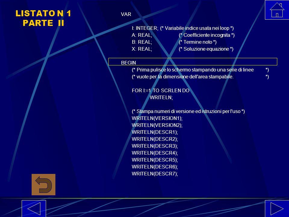 LISTATO N 1 PARTE I PROGRAM EQNE1(INPUT, OUTPUT); CONST VERSION1='Risoluzione equazioni e disequazioni di 1o grado'; DESCR1='Questo programma risolve
