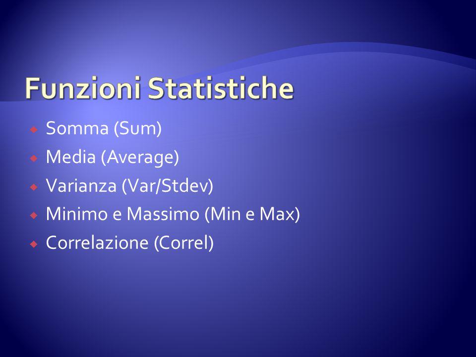  Somma (Sum)  Media (Average)  Varianza (Var/Stdev)  Minimo e Massimo (Min e Max)  Correlazione (Correl)