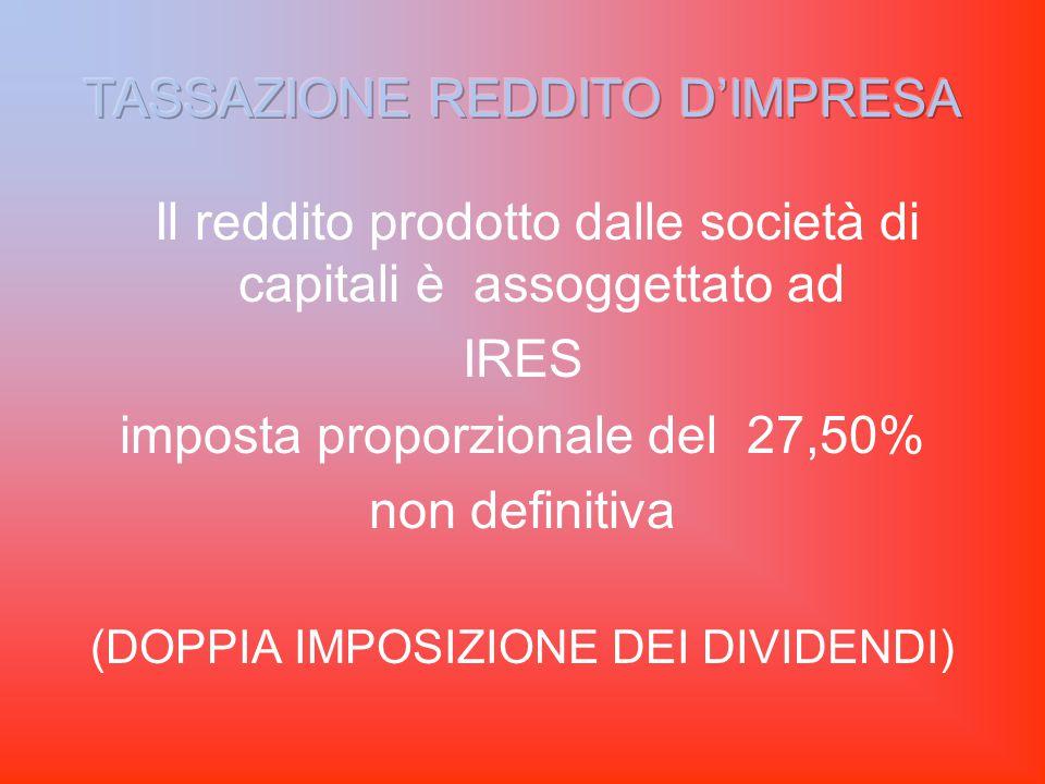 Il reddito prodotto dalle società di capitali è assoggettato ad IRES imposta proporzionale del 27,50% non definitiva (DOPPIA IMPOSIZIONE DEI DIVIDENDI)