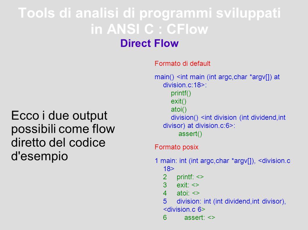 Tools di analisi di programmi sviluppati in ANSI C : CFlow Direct Flow Formato di default main() : printf() exit() atoi() division() : assert() Formato posix 1 main: int (int argc,char *argv[]), 2 printf: <> 3 exit: <> 4 atoi: <> 5 division: int (int dividend,int divisor), 6 assert: <> Ecco i due output possibili come flow diretto del codice d esempio