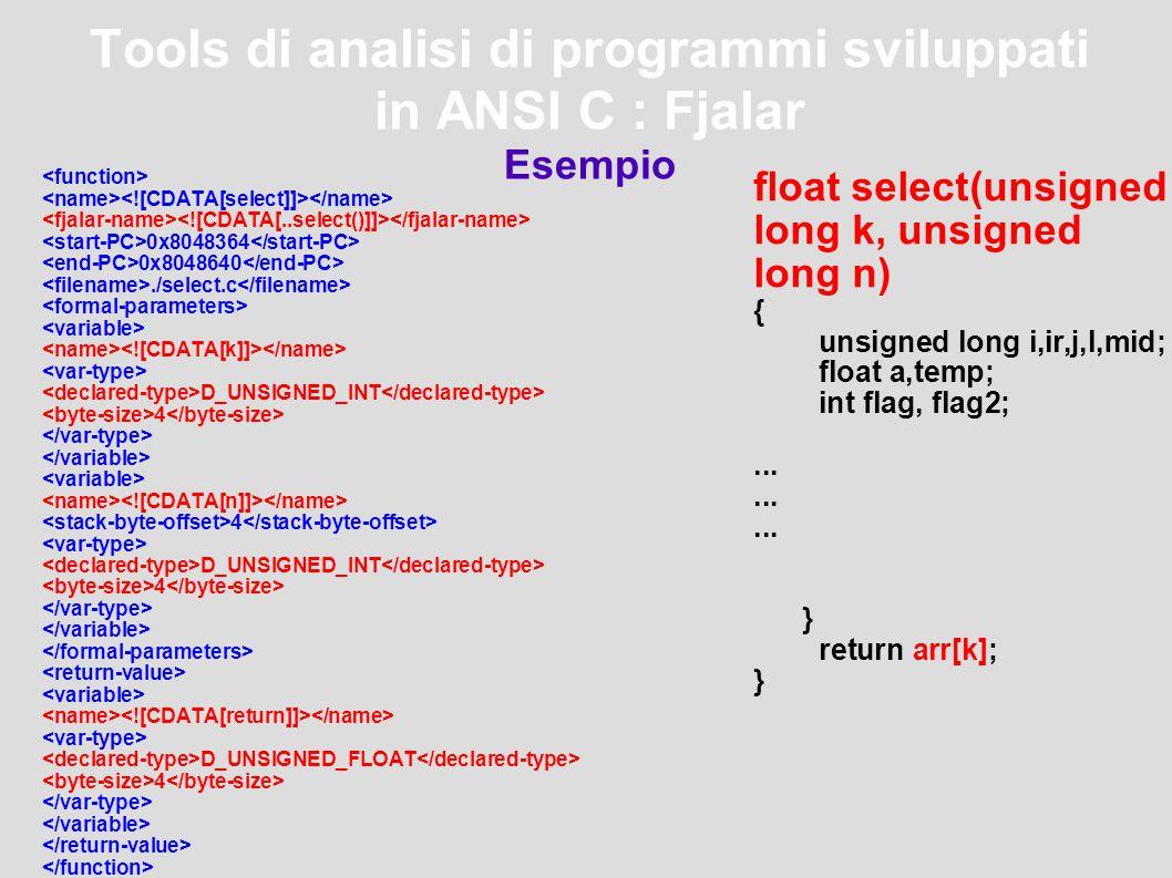 Tools di analisi di programmi sviluppati in ANSI C : Fjalar Esempio 0x8048364 0x8048640./select.c D_UNSIGNED_INT 4 4 D_UNSIGNED_INT 4 D_UNSIGNED_FLOAT 4 float select(unsigned long k, unsigned long n) { unsigned long i,ir,j,l,mid; float a,temp; int flag, flag2;...