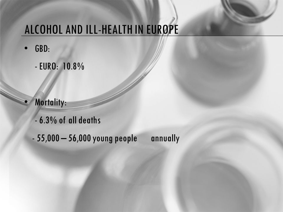 ALCOHOL AND ILL-HEALTH IN EUROPE GBD: - EURO: 10.8% Mortality: - 6.3% of all deaths - 55,000 – 56,000 young people annually